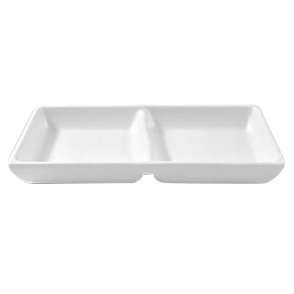 Elite Global Solutions JW521 Zen 4 oz. White Two Compartment Melamine Sauce Dish - 6/Case Main Image 1