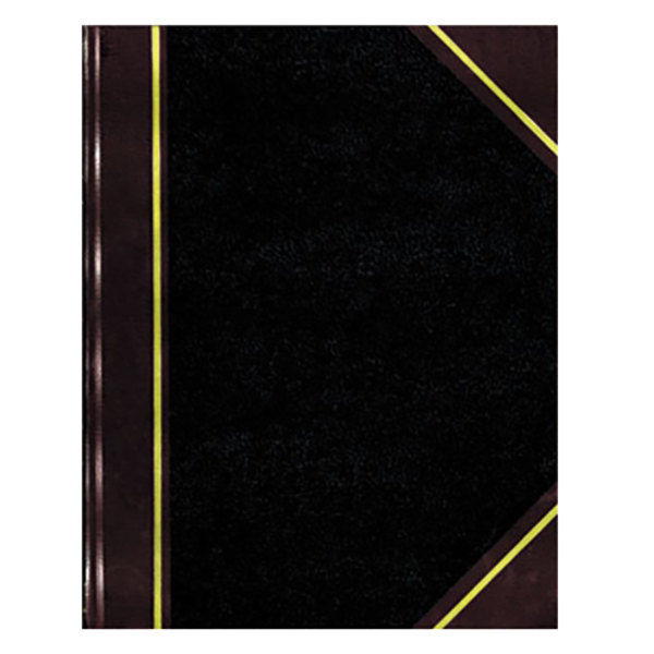 """National 56211 Texthide 10 3/8"""" x 8 3/8"""" Black / Burgundy Record Book - 150 Pages"""