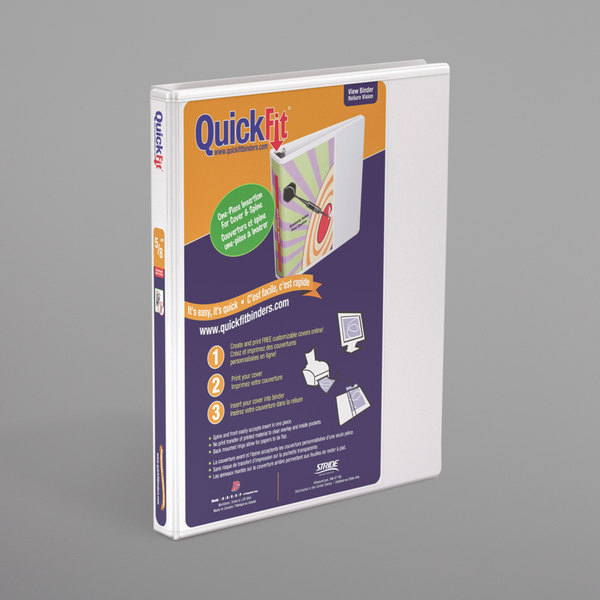 """Stride 87000 QuickFit White View Binder with 5/8"""" Slant Rings"""