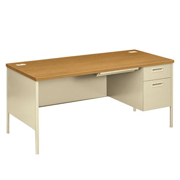 "HON P3265RCL Metro Classic 66"" x 30"" x 29 1/2"" Harvest/Putty Metal Right Pedestal Desk"