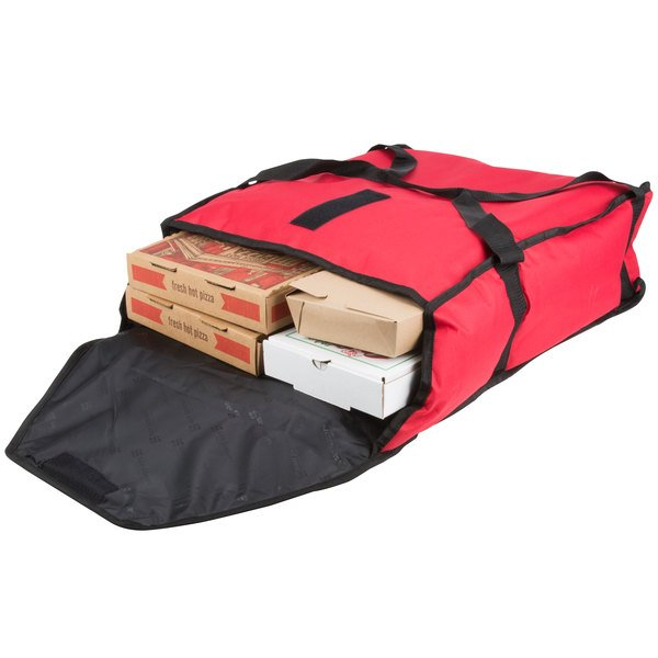 """San Jamar PB20-6 20"""" x 18"""" x 6"""" Insulated Red Nylon Pizza Delivery Bag Main Image 7"""