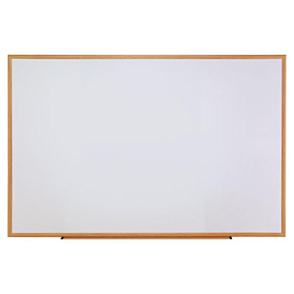 "Universal UNV43621 72"" x 48"" White Melamine Dry Erase Board with Oak Frame"