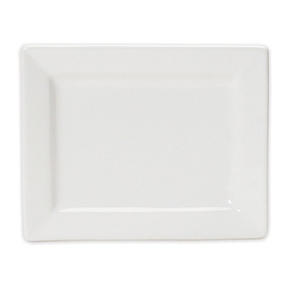 "Tuxton BWH-0703 DuraTux 7"" x 5 1/2"" White Rectangular China Plate - 12/Case Main Image 1"
