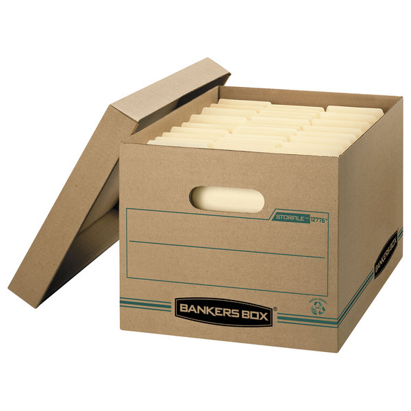 """Bankers Box 1277601 Stor/File 12 1/2"""" x 16 1/4"""" x 10 1/2"""" Kraft Letter/Legal Sized File Storage Box with Lift-Off Lid - 12/Case"""