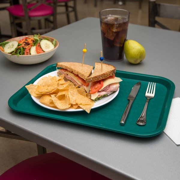 "Carlisle CT121615 Customizable Cafe 12"" x 16"" Teal Standard Plastic Fast Food Tray - 24/Case"