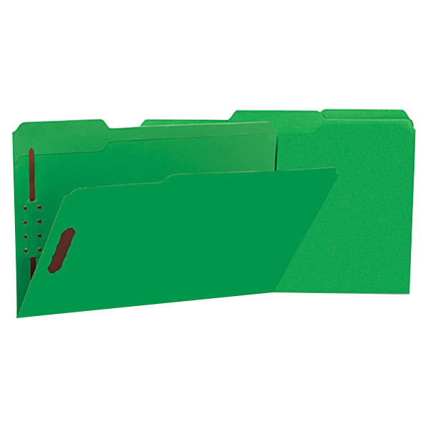 Universal UNV13526 Legal Size Fastener Folder with 2 Fasteners - Reinforced 1/3 Cut Assorted Tab, Green - 50/Box Main Image 1