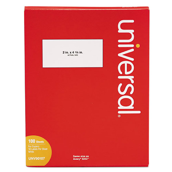 """Universal UNV90107 2"""" x 4 1/4"""" Bright White Copier Shipping Labels - 1000/Box"""
