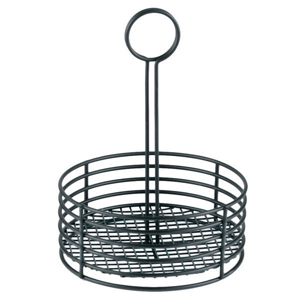 """Clipper Mill by GET 4-31855 7 1/2"""" x 9 1/2"""" Black Polyethylene Coated Iron Round Condiment Caddy"""