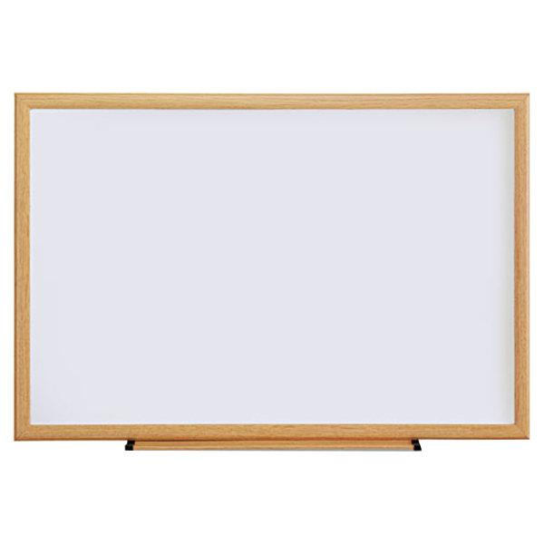 "Universal UNV43619 36"" x 24"" White Melamine Dry-Erase Board with Oak Frame"