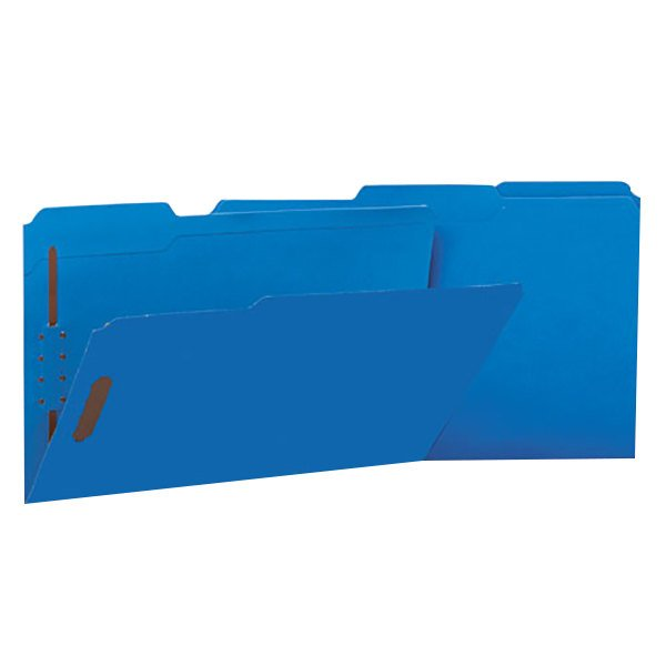Universal UNV13525 Legal Size Fastener Folder with 2 Fasteners - Reinforced 1/3 Cut Assorted Tab, Blue - 50/Box Main Image 1