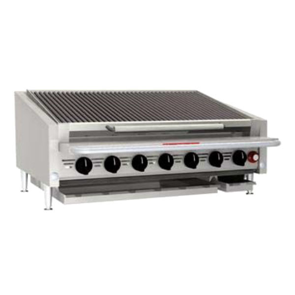 """MagiKitch'n APL-RMBSS-672-H 72"""" Natural Gas High Output Low Profile Stainless Steel Radiant Charbroiler with 4"""" Legs - 320,000 BTU"""
