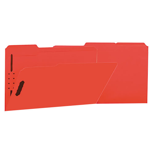 Universal UNV13527 Legal Size Fastener Folder with 2 Fasteners - Reinforced 1/3 Cut Assorted Tab, Red - 50/Box