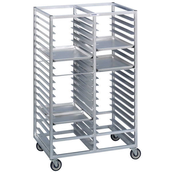 Channel 467A6 46 Tray Bottom Load Double Aluminum Cafeteria Tray Rack - Assembled