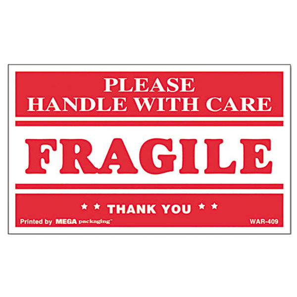 "Universal UNV308383 3"" x 5"" Fragile Handle with Care Self-Adhesive Shipping Labels - 500/Roll"