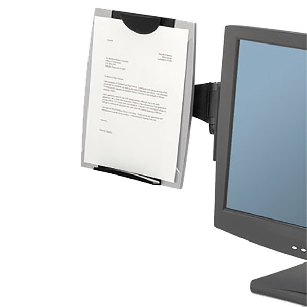 "Fellowes 8033301 Office Suites 13 1/4"" x 2"" x 15"" Black / Silver 150 Sheet Plastic Monitor Mount Copyholder"