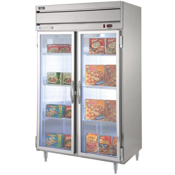 "Beverage-Air HFPS2-1G-LED Horizon Series 52"" Glass Door All Stainless Steel Reach-In Freezer with LED Lighting"