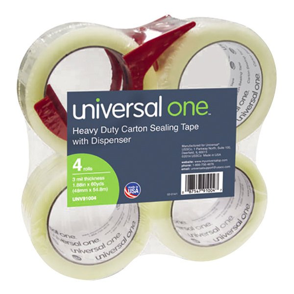 """Universal UNV91004 2"""" x 60 Yards Heavy-Duty Box Sealing Tape with Dispenser - 4/Pack"""