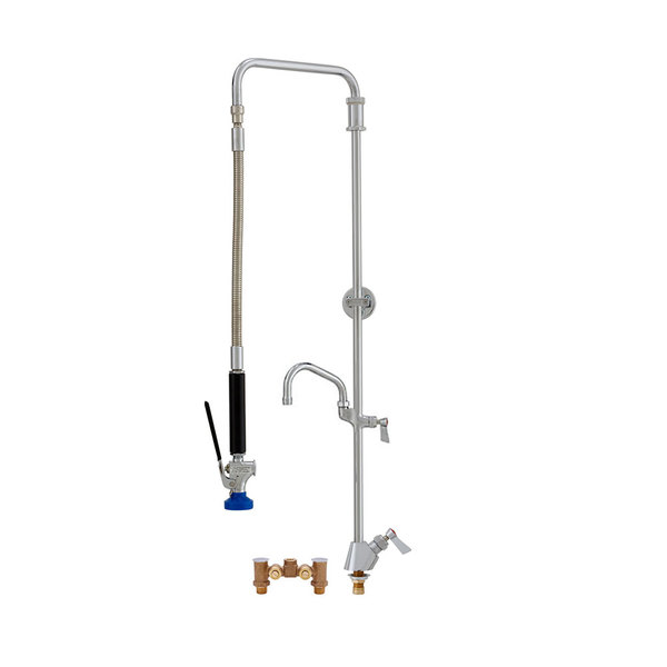 """Fisher 50822 Deck Mounted Pre-Rinse Faucet with Temperature Control Valve, Swivel Arm, 6"""" Add-On Faucet, and Wall Bracket"""