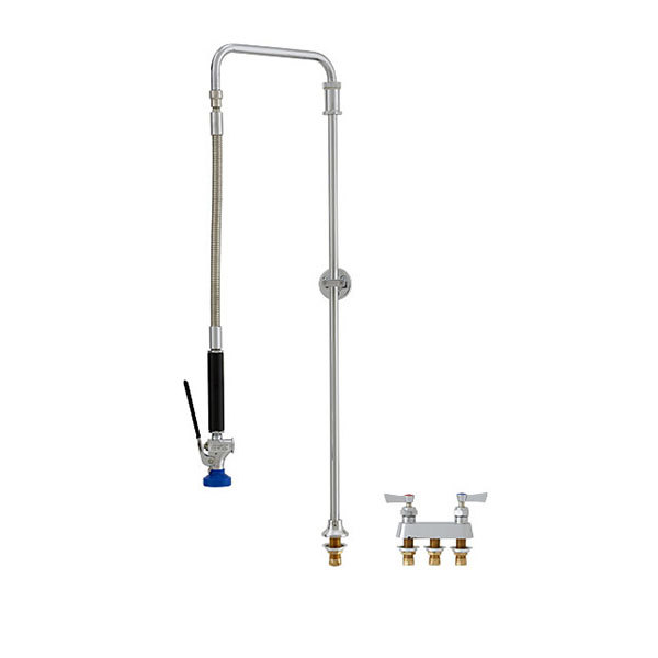 "Fisher 49476 Deck Mounted Pre-Rinse Faucet with 4"" Remote Valve Centers, Swivel Arm, and Wall Bracket"