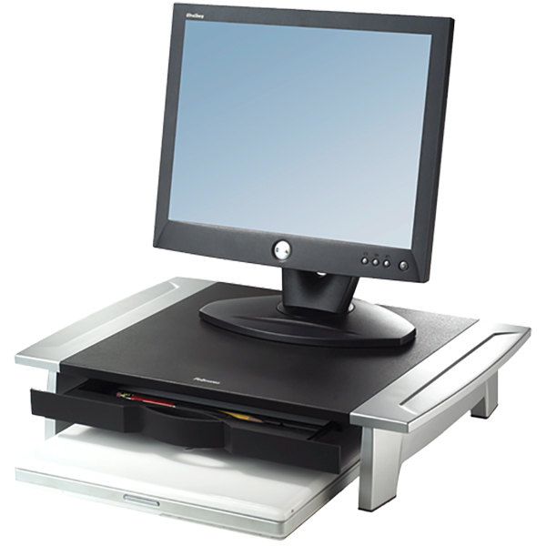 "Fellowes 8031101 Office Suites 19 7/8"" x 14 1/16"" x 6 1/2"" Black / Silver Monitor Riser"
