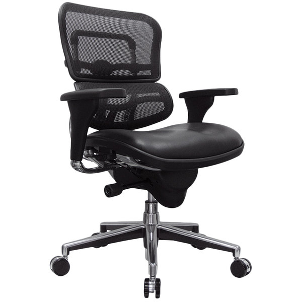 Eurotech Seating LEM6ERGLO Ergohuman Black Leather / Mesh Mid Back Swivel Office Chair Main Image 1
