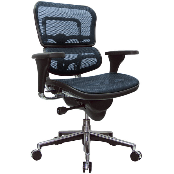 Eurotech Seating ME8ERGLO-KM15 Ergohuman Blue Mesh Mid Back Swivel Office Chair