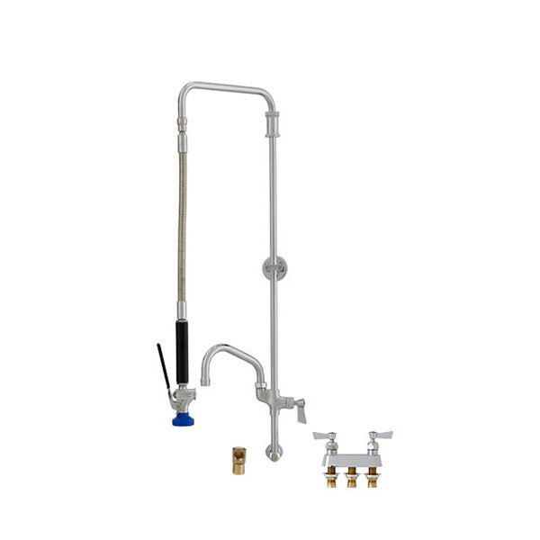 """Fisher 27235 Backsplash Mounted Pre-Rinse Faucet with 4"""" Remote Valve Centers, Swivel Arm, 14"""" Add-On Faucet, Elbow, and Wall Bracket"""