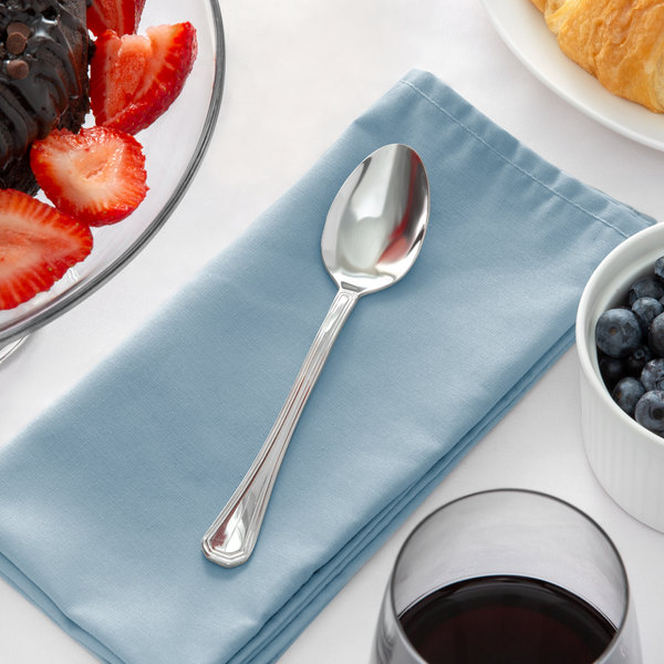"""Acopa Landsdale 7"""" 18/8 Stainless Steel Extra Heavy Weight Dessert Spoon - 12/Case"""
