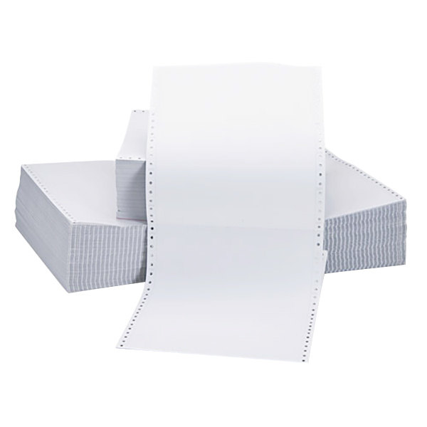 "Universal UNV15703 9 1/2"" x 11"" White Case of 15# 2 Part Perforated Continuous Print Computer Paper - 1650 Sheets"