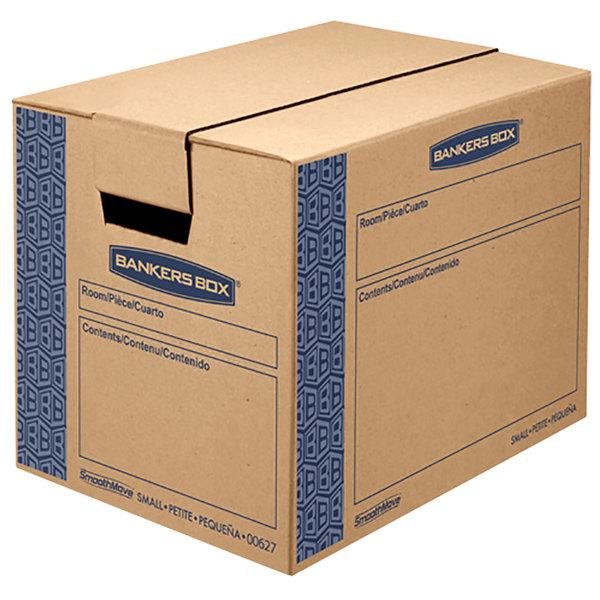 "Banker's Box 0062701 SmoothMove Prime 16"" x 12"" x 12"" Kraft / Blue Small Moving Box - 10/Case"