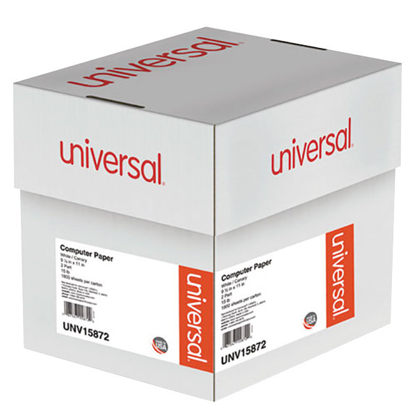 """Universal UNV15872 9 1/2"""" x 11"""" Multicolor Case of 15# 2 Part Perforated Continuous Print Computer Paper - 1800 Sheets Main Image 1"""