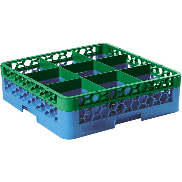 Carlisle RG9-1C413 OptiClean 9 Compartment Green Color-Coded Glass Rack with 1 Extender Main Image 1