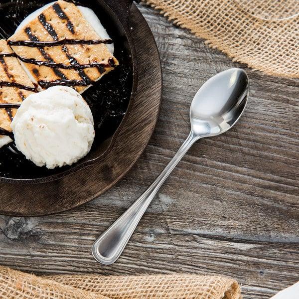 "Acopa Edgewood 6 3/4"" 18/0 Stainless Steel Heavy Weight Dessert Spoon - 12/Case"