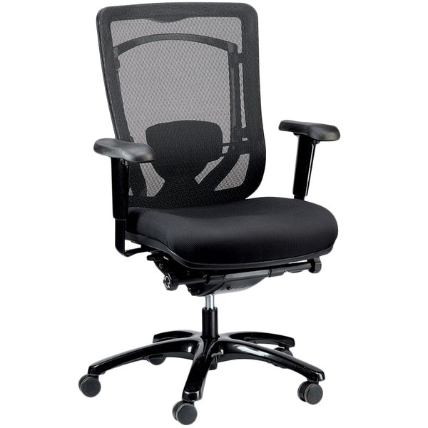 Eurotech Seating MFSY77 Monterey Black Fabric / Mesh Synchro Tilt Office Chair Main Image 1