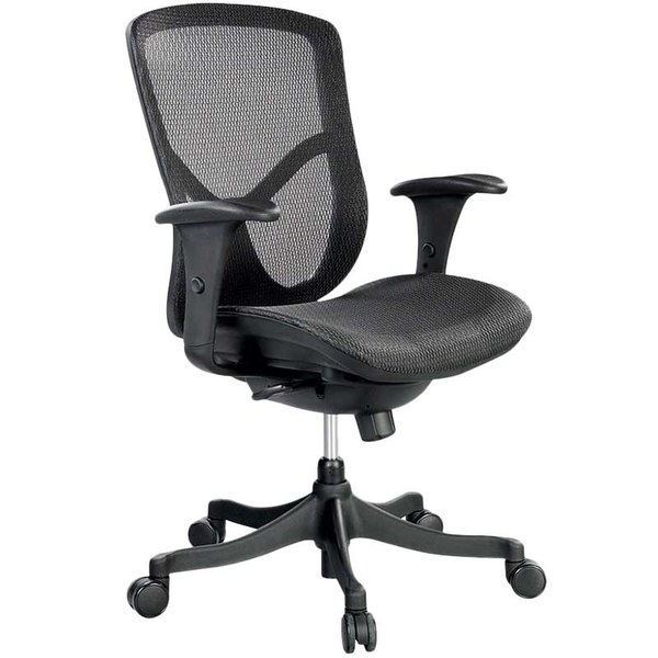 Eurotech Seating FUZ5B-LO Fuzion Black Basic Mesh Mid Back Swivel Office Chair Main Image 1