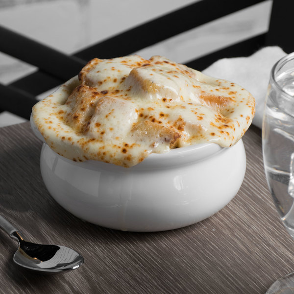 Tuxton BWS-1203 12 oz. Porcelain White China Onion Soup Crock - 12/Case Main Image 5