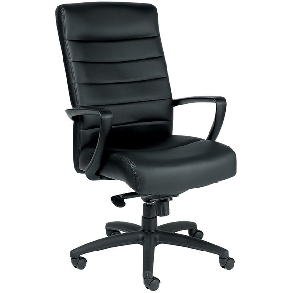 Eurotech Seating LE150-BLKL Manchester Black Leather High Back Swivel Tilt Office Chair Main Image 1