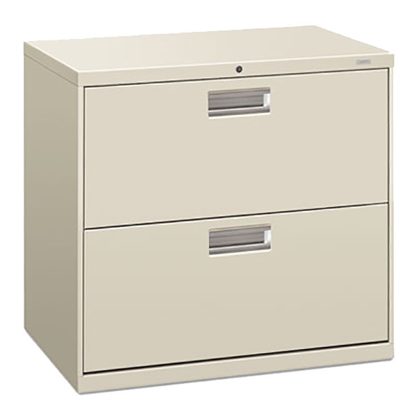 """HON 672LQ 600 Series 30"""" x 19 1/4"""" x 28 3/8"""" Light Gray Two-Drawer Metal Lateral File Cabinet - Legal/Letter Main Image 1"""
