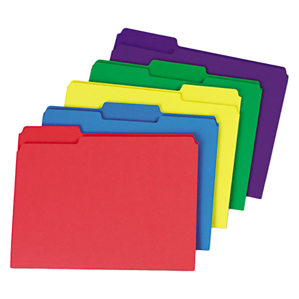 Universal UNV16466 Heavyweight Letter Size File Folder - Standard Height with 1/3 Cut Assorted Tab, Assorted Color - 50/Box