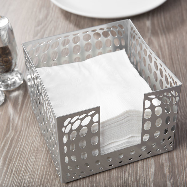 """Clipper Mill by GET IRBLG-01 5 1/2"""" x 5 1/2"""" Gray Powder Coated Iron Bulge Napkin Holder Main Image 7"""