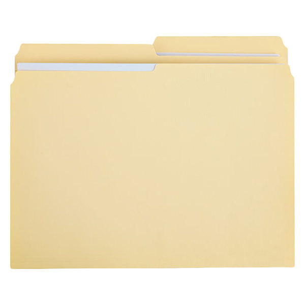 Universal UNV16112 Letter Size File Folder - Standard Height with 2-Ply 1/2 Cut Assorted Tab, Manila - 100/Box Main Image 1