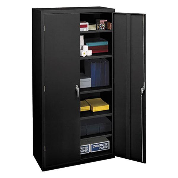 "Hon SC1872P Brigade 36"" x 18 1/4"" x 71 3/4"" Black Storage Cabinet Main Image 1"