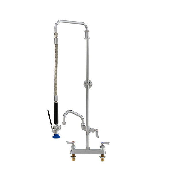 """Fisher 50695 Deck Mounted Pre-Rinse Faucet with 8"""" Centers, Swivel Arm, 6"""" Add-On Faucet, and Wall Bracket"""