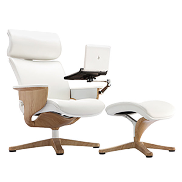 Eurotech Seating NUVEMWHT Nuvem White Leather Lounge Office Chair with Teak Wood Finished Frame Main Image 1