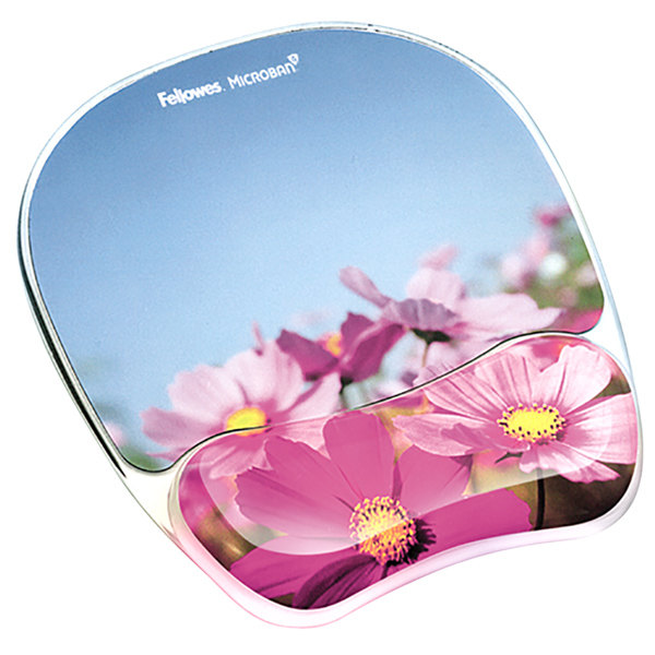 Fellowes 9179001 Pink Flowers Gel Mouse Pad with Wrist Support and Microban Protection