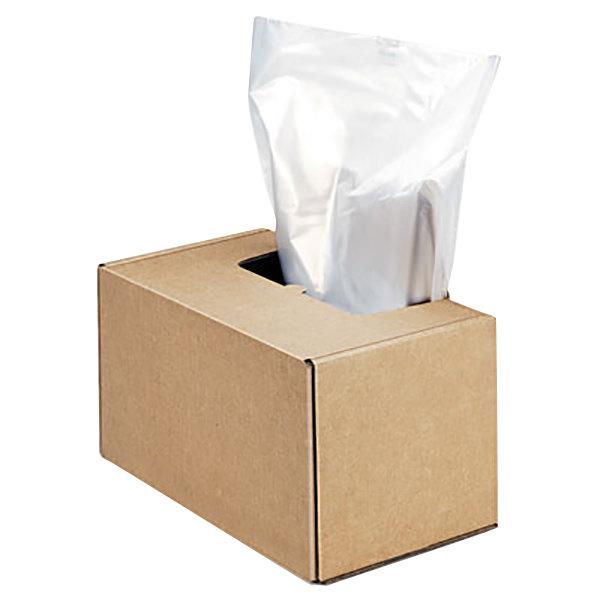 """Fellowes 3604101 Clear 50"""" x 42 1/2"""" x 42 1/2"""" 50 Gallon Shredder Bag - 50/Box Main Image 1"""