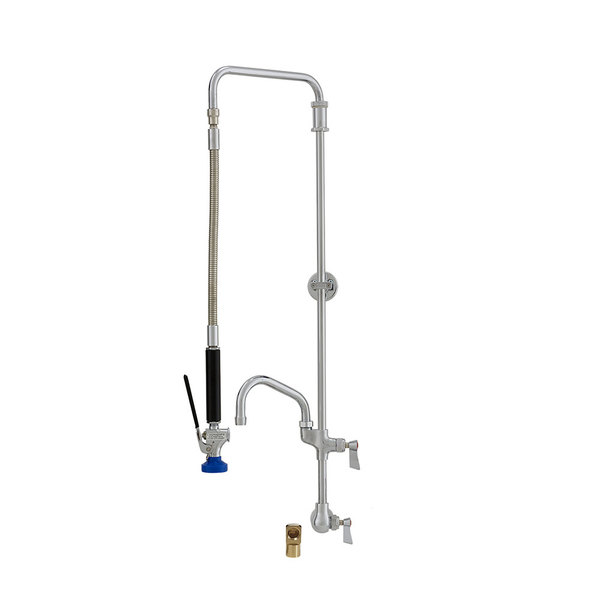 "Fisher 27146 Backsplash Mounted Pre-Rinse Faucet with Swivel Arm, 10"" Add-On Faucet, Elbow, and Wall Bracket"