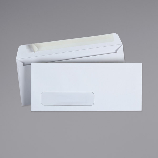 """Universal UNV36005 #10 4 1/8"""" x 9 1/2"""" White Side Seam Business Envelope with Window and Peel Seal Adhesive Strip - 500/Box"""
