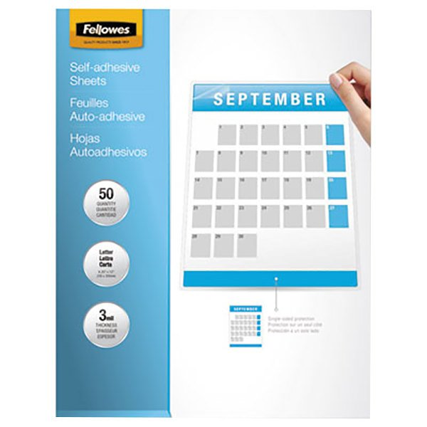 "Fellowes 5221502 12"" x 9 1/4"" Self-Laminating Sheets - 50/Pack Main Image 1"