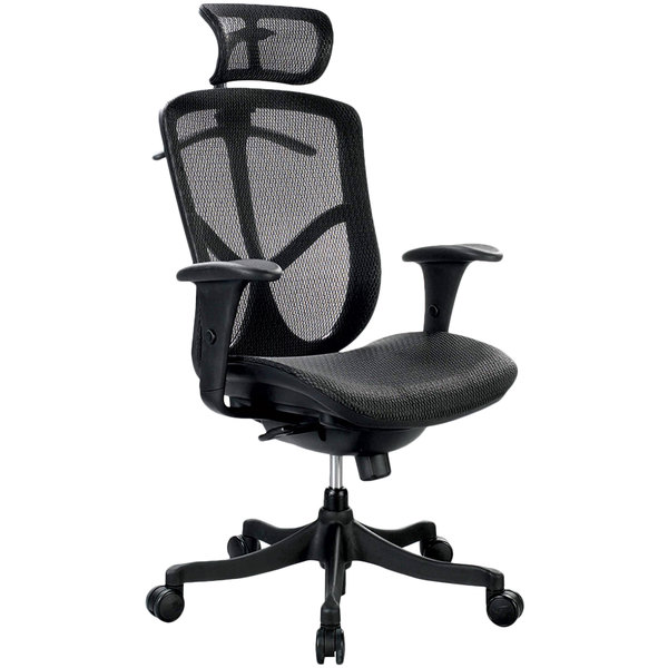 Eurotech Seating FUZ6B-HI Fuzion Black Basic Mesh High Back Swivel Office Chair with Head Rest